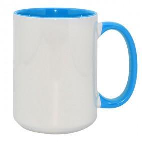 Кружка ВЫСОКАЯ цветная внутри + ручка голубая 420 мл