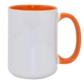 Кружка ВЫСОКАЯ цветная внутри + ручка оранжевая 420 мл