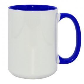 Кружка ВЫСОКАЯ цветная внутри + ручка синяя 420 мл