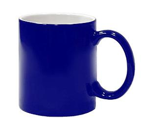 Кружка хамелеон синяя глянцевая