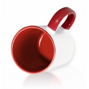 Кружка цветная внутри + ручка красная