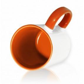 Кружка цветная внутри + ручка оранжевая