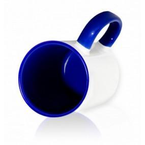 Кружка цветная внутри + ручка синяя