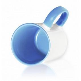 Кружка цветная внутри + ручка светло-синяя