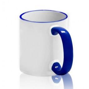 Кружка цветной ободок + ручка синяя